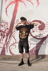 Samuel Oh - Suede Cap, Out Of The Past Vintage Clothing Red Hot Chili Peppers Shirt, Simons Paul Cezanne Still Life Socks, Dr. Martens Callum Canvas Marten's Shoes - CALIFORNICATION
