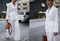 Jillian Lansky - Free People White Suit, Proenza Schouler Top Handle Bag - POWERSUIT