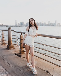 Yonish - Chic Me Lace Cold Shoulder Crop Top Set, Chic Me Lace Shorts Set, Yesstyle White Platform Sandals - Summer Lace Look