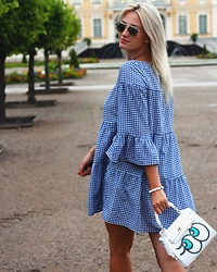 Agate Zirape - Zara Gingham Dress, Aliexpress Sequenced Eye Bag - SUMMER IN GINGHAM