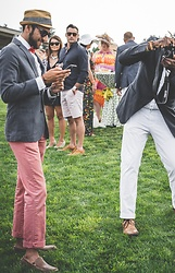 Hector Diaz - J. Crew Navy Blue Cotton Blazer, J. Crew Harbor Pink Chinos, Zara White Dress Shirt, J. Crew Straw Hat, Club Monaco Pocket Square, H&M Bow Tie, 1601 Loafers - Seattle Polo Party X Seattle Gents