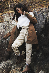 Gabby Chia - Lord & Taylor Sweater, Urban Behavior Duster, Topshop Cargo Pants, Qupid Chelsea Boots - Early Autumn