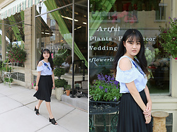Bethery Yang - Blue Shoulder Cut Out Top, Black Pleated Midi Skirts, Black Heeled Mules - Room For Romance