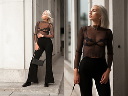 MONIKA S - Open Bra With Gipure Trim, Silver Necklace, Romwe Sparkle Sheer Mesh Ruffle Top, Leather Mini Clutch, Silver Hoop Earrings, Skinny Flare Pants, Silver Steel Watch, Leather Shoes - PINK FOOTPATH
