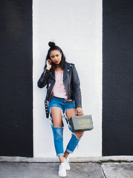 Ria Michelle - Diesel L Golnar Leather Jacket, French Connection Uk Polly Plains Lace Trim Cami Top, Missguided Ripped Denim, Nike Air Max Thea - The Overachiever