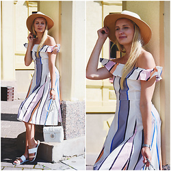 Madara L - Lovelywholesale Striped Dress, Zaful White Shoulder Bag - Striped off shoulders dress