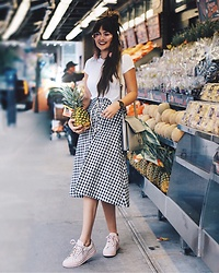 Lexicon of Style Alexandra Dieck - Anthropologie Gingham Skirt, Greats Pink Sneakers, @Shoplexiconofstyle The Ivy Scarf - Gingham Crazy