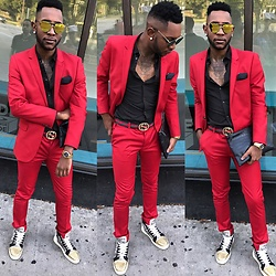 Kris Hilton - Topman Suit, Christian Louboutin Shoes, Gucci Belt, H&M Shirt - Bloody Shoes