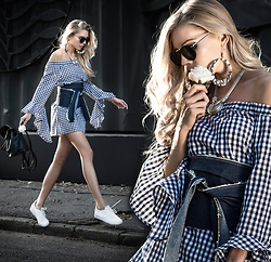 Dora D. - Luzabelle Paris Gingham Dress/Shirt, Diy Denim Wrap Belt, Faux Leather Mini Backpack With Pom Pom - Sometimes inspiration comes from a single ray of sunshine