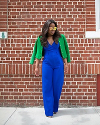 Christian Riley - Y&R Boutique Jumpsuit, Vintage Green Jacket, Mahps Vintage Mirror Sunglasses - Colors & Curves