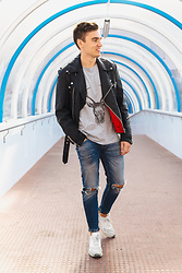 Andreas Sundbom - Jofama Leather Jacket, Zaful T Shirt, Zara Trashed Jeans, Nike Sneakers - Reindeer