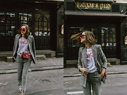 Andreea Birsan - Checked Crop Flared Trousers, Checked Double Breasted Blazer, Coca Cola T Shirt, Red Sunglasses, Ace Heart Embroidered Sneakers, Red Mini Bag, Statement Earrings - Hello fall