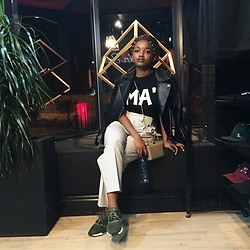 "Reneilwe Masekoameng - Mamagasehome Signature Ma"" Tee, Topshop Leather Jacket, Colette Clutch, Topshop Tapered Pants, Adidas Nmds - 012 baby"