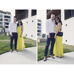 Nasklee Petush Kay - Olymp White Shirt, Zara Suit Pants, Lasocki Brown Dress Shoes, Pull & Bear Retro Sunglasses, Forever 21 Cateye Sunglasses, Missguided Yellow Backless Maxi Dress, Public Desire Black Heels - WEDDING GUESTS