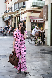 EmerJa Design - Uterqüe Jumpsuit, Bag, H&M Sandals - Pink polka dots