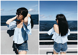 Izabela - Zara Off Shoulder Shirt, Missdenim Classic Navy Shorts, Christian Dior Abstract - SEASIDE STORIES