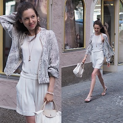 Claire H - Mango White Romper, Longchamp Le Pliage, H&M Vest - Sunday morning stroll