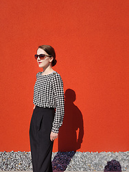 Clarissa H -  - Houndstooth Blouse With Pleated Pants