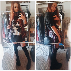 Luc S. - Salsa Life Plaid Button Down, Calzedonia Knee Socks, Marypaz Chunky Boots - Rock concert on a tea house.