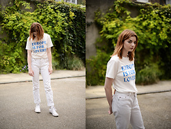 Hannah Louise - Weekday Printed T Shirt, Levi's 501s, Converse High Tops - EUROPE IS FOR LOVERS