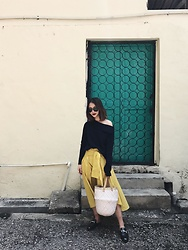 Leonie Leong - Cos Sweater, Zara Skirt, Mowgli Store Basket, Tods Mules - BACK ALLEYS