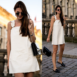Jacky - Ray Ban Sunglasses, Zara Dress, Gucci Bag, Marks & Spencer Shoes - White Leather Dress