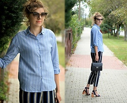 Kamila Krawczyk - Romwe Shirt, Topshop Pants, Amiclubwear Sandals, Lovelywholesale Bag, Zaful Earrings - Striped sets