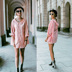 Adriana M. - Zara Pink Striped Oversized Shirt, Silver Suede Boots - - -  STRIPED - -
