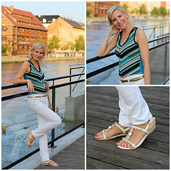 Małgorzata Miłosz - Dorothy Perkins Colorfull Top, Cubus White Jeans, Deezee White Sandals - Bye, bye summer
