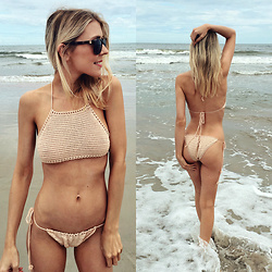 Zuzana - Yoins Crochet Bikini Set, Nine West Brown Sunglasses - Crochet Bikini