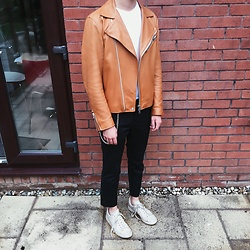 Peter Jones - Raf Simons Trainers, Acne Studios Leather Jacket, Topman Chain - Acne in my wardrobe and not on my face