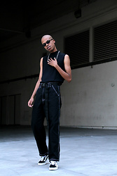 Dominic Grizzelle - Lazy Oaf Contrast Stitch Trousers, Cbyloredanapinasco Industrial Belt, Vans Old Skools - RELOADED