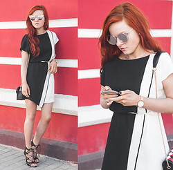 Anya Dryagina - Metisu Black Color Block Raglan Sleeve Chiffon Dress, Metisu Black Geometric Printed Cross Body Bag, Daniel Wellington Wrist Watch - Black and white