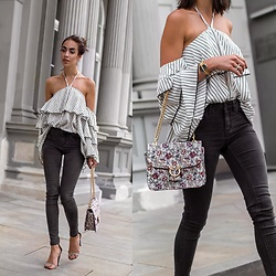 Markéta Bártová - Light In The Box Striped Off Shoulder Blouse, Mango Floral Vintage Purse - Lauv - I Like Me Better