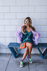 Eliza Romero - Asos Teal Metallic Minidress, Asos Purple Mongolian Faux Fur Jacket, Asos Orange Embroidered Crossbody Bag, Converse Purple High Tops, Quay On The Prowl Sunnies - First Day of School
