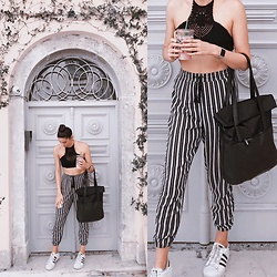 Valerie Hoffmann - Tezenis Black Crochet Halter Top, Apple Gold Watch, Tally Weijl Casual Striped Trousers, Ovs Black Office Bag, Adidas Superstars - Casual Black and Whites