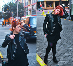 Raysa Castañeda - Forever 21 Studded Biker Jacket, Forever 21 Black Tunic Dress, Forever 21 Pointed Creepers - Peruvian TAXI