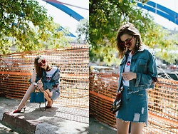 Andreea Birsan - Distressed Denim Mini Skirt, Cropped Raw Hem Denim Jacket, Red Velvet Slingback Shoes, Graphic T Shirt, Red Cateye Sunglasses, Mini Blue Bag, Earrings, Scarf - Double denim
