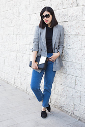 Vivian Tse - Mango Blazer, Tom Ford Sunglasses, Angti&Yang Bag, Zara Mom Jeans, H&M Loafers - Prince of Wales check