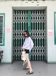 Leonie Leong - Monki Top, Club Monaco Shorts, Alberta Ferretti Mules, Lancel Bag - POSITIVE VIBES