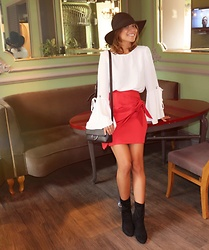 Aylar - Pimkie Skirt, Pimkie Blouse, Pimkie Hat, Pimkie Boots, Pimkie Bag - Lady in red skirt