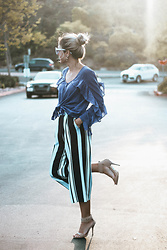 Better Sunkissed - Milla - Joa Striped Culottes, Zara Ruffle Top, Sunday Somewhere The Dot Cat Eye Sunglasses - Deep Blue