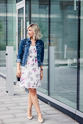 Tatiana M - Vero Moda Floral Dress, Gap Denim Jacket, Le Chateau Shoes, Daniel Wellington Watch - Classic Denim: Summer to Fall Transition