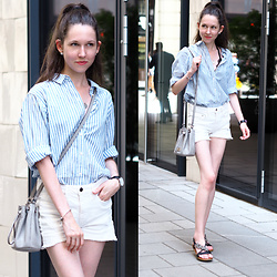 Claire H - Mango Striped Shirt, H&M Hot Pants, Michael Kors Bucket Bag, Daniel Wellington Watch - Light Stripes