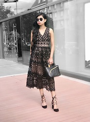 Sabina Sok - Bysi Crochet Lace Midi Dress, Lyn Around Eccentric Sunglasses, Lyn Around Black Swan Bag, Charles & Keiths Lace Up Black Heels - Grace