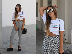 Claudia Villanueva - Zaful Sunglasses, Gucci T Shirt, Zaful Pants, Chanel Bag, Public Desire Sandals - Daisy Sunnies & Gingham Pants