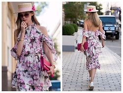 Anastasiia Masiutkina - Aylin Grushovenko Dress, Loro Piana Bag, Ruslan Baginskiy Hat, Valentino Sneakers - Pink silk dress! #Love