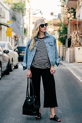 Meagan Brandon - Levi's Denim Jacket, Striped Tee (Similar), Topshop Maternity Pants, Brahmin Flower Bag, Similar Slides - Comfy & Stylish Maternity Outfit