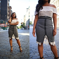 Christian Riley - H&M Off The Shoulder Top, Bcbg Grey Zip Skirt, Vintage White Lace Skirt, Forever 21 Heels - Backwards Style