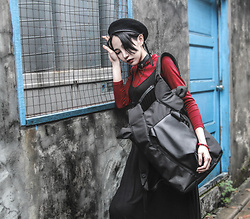 Louis Liao - Oribagu Black Horn Bagpack, Unholy Lab Choker - You'll float too.